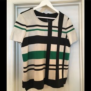 🌿St. John Green, White, Black Plaid Stripe Top L